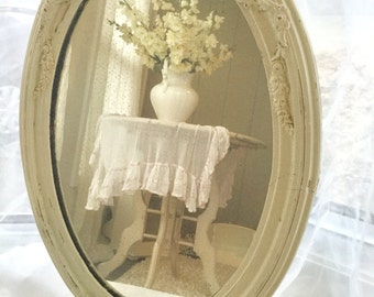 Large Gesso Wall Mirror Cream White Barbola Roses