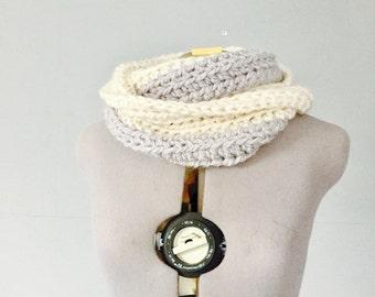 Soft Alpaca blend infinity circle scarf cream ivory gray