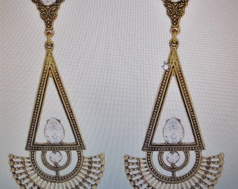 Drop Earrings in Gold and Silver plate with rhinestones