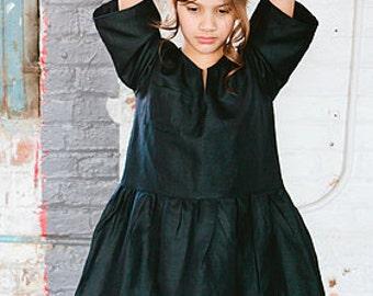 Navy Blue Dress, Linen Dress, Little Girl Dresses, Blue Dress, Baby Girl Dress, Boutique Clothing, Little girl Clothes, Tween girls