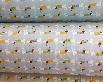 4374 - Dachshund Cotton Fabric - 62 Inch (Width) x 1/2 Yard (Length)