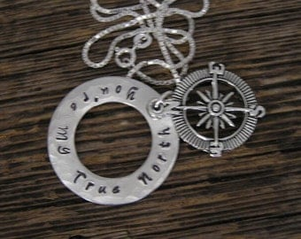 25% Off SALE**Coupon Code 'weRback25' Silver Stamped You're My True North Compass Necklace