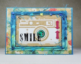 Handmade Greeting Card- Camera and Smile