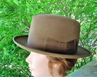 Vintage Fedora 7 3/8 Mens Hat Brown Dobbs Twenty Wide Brim
