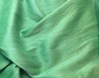 Hand Dyed PEAR GREEN Silk DUPIONI Fabric - fat 1/4