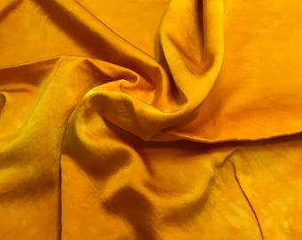 "Hand Dyed Poppy Orange - Silk and Cotton Blend SATIN Fabric - 18""x22"""