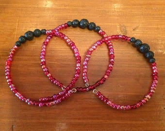 Red seed bead diffuser bracelet