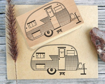 Retro Camper Rubber Stamp / Vintage Camping Trailer - Handmade by BlossomStamps
