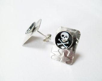 Tiny Tabs, Earring Studs in Jolly Roger