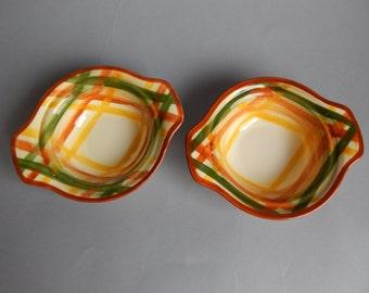 2 Vernonware Homespun Soup Bowls with Handles