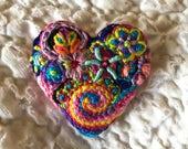 Freeform embroidery heart brooch  Brooch #164