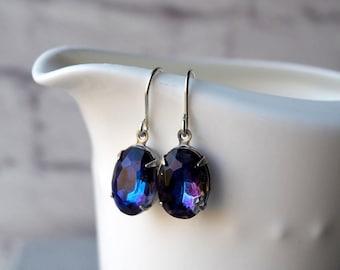 Bermuda Blue Rhinestone Earrings, Vintage Rhinestone Jewels, Blue Purple Old Hollywood Vintage Jewel Sterling Silver