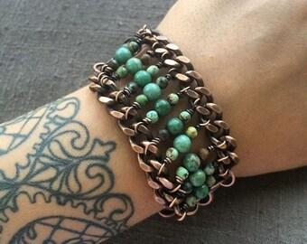 Turquoise Bracelet Beaded Bracelet Bead Bracelet Bloodstone Bracelet Rustic Jewelry DanielleroseBean Gemstone Jewelry Black Friday Sale