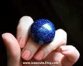 Pretty Blue Sparkly Resin Ring in Fine Twinkly Sapphire Glitter by isewcute