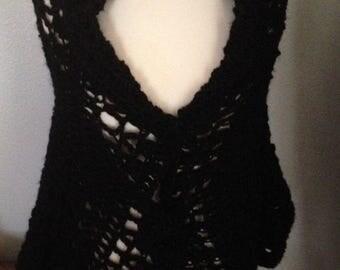 Medium Black Crochet Sweater- Shawl