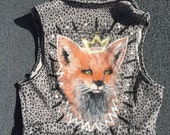 Fox queen, cropped vest, denim vest, hand painted, hand painted clothing, hand painted jacket, vest, painted jacket, leopard print jacket