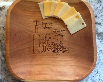 Christmas Gift Ready to Ship, Engraved CHEESE BOARD / BOWL, Cherry Wood, Handcrafted Bowl, 10 3/4 inches wide, Item 103