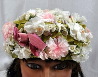 Vintage 50s Ivory & Green Flowered Hat by Doree of New York