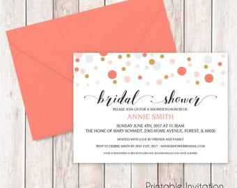 Printable Bridal Shower Invitation, Confetti Bridal Invitation, Custom Wording and Colors, Print Yourself, JPEG File
