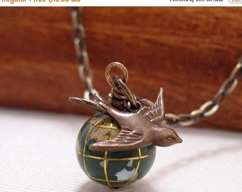 SALE World Globe And Swallow Necklace It's A Small World