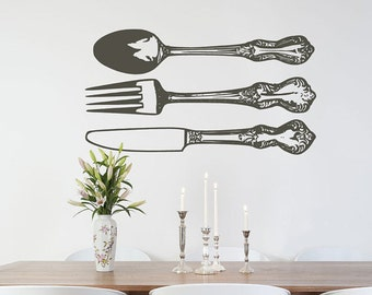 Farmhouse Kitchen Wall Decor Silverware Wall Decals Fork Spoon Wall Decal Modern Kitchen Wall Decorations Farmhouse Decor Fork Decal