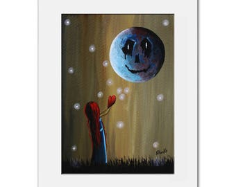 Original Gothic Painting - Gothic Fantasy - Moon - Girl With Heart - Surrealism - Dreamscapes - Love - Outsider - 5x7 Art