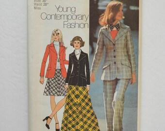 1970s UNCUT Simplicity Sewing Pattern 5212 Womens Princess Seam Blazer Jacket, Bias Cut Skirt & Cuffed Pants Size 14