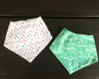 ON SALE | Bandana Baby Bib | Gift Set of 2 | 3 months - 12 months | Baby Girl