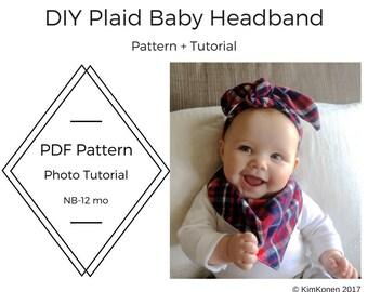 Pattern Baby Headband | Baby Turban | PDF Pattern and Tutorial | Top Knot Headband | Plaid Headband