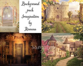 Digital backgrounds |digital backdrops| plus clipart overlay  pack|  beauty and the beast | ballrooms |rose garden | french village |roses
