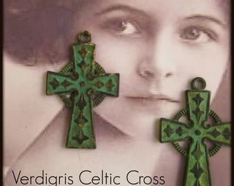 Verdigris Patina Brass Celtic Cross Pendant Charms 831VER x2