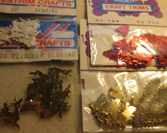 Vintage Christmas sequins, 4 bags   Christmas sequins, vintage sequins,