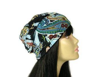 Paisley Slouchy Hat Paisley Turban Lightweight Slouchy Beanie Paisley Print Hat Black Paisley Turban Spring Slouchy Hat Boho Custom Sizes