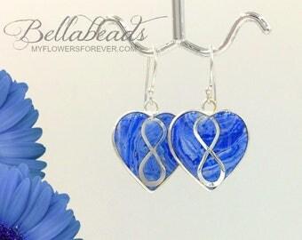 Memorial Beads Flower Petal Jewelry, Memorial Jewelry, Funeral Flower Jewelry, Memorial Gift Idea, Infinity Heart Earrings