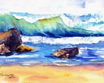 hawaiian ocean wave original watercolor painting kauai hawaii blue teal turquoise aqua waves big surf watercolour art kauaiartist marionette