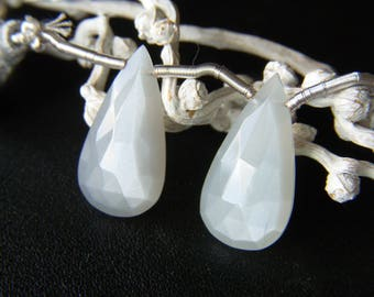 Grey Moonstone Faceted Drops - Pair - 11.5x22mm