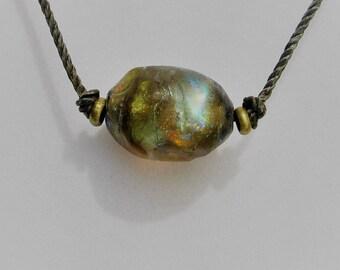 Winging It Series Basha Bead, Large Gold/Orange/Aqua Focal on a Cotton Cord, Handmade Lampwork Glass, Organic, Statement Art Beads