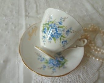 "Vintage ""Mother"" Teacup Saucer Plate Forget-Me-Not Mother's Day New Mom New Baby Birthday Set - Made in England - EnglishPreserves"