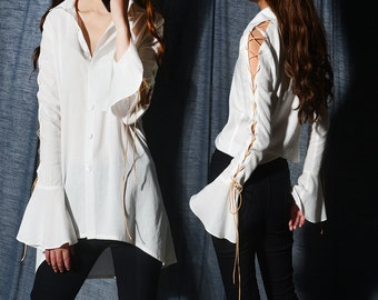 Game of throne - extravagant bell sleeve shirt / boho shoe string shirt / idea2lifestyle boho blouse (Y20171a)