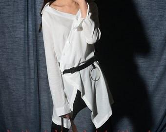 Big bang asymmetrical blouse big ring belt / idea2lifestyle boho tunic / cotton linen shirt + leather belt / Asian style shirt (Y20172b)