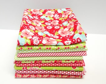 Little Ruby by Bonnie & Camille FQ bundle in Reds and Greens - 10 Fat Quarters