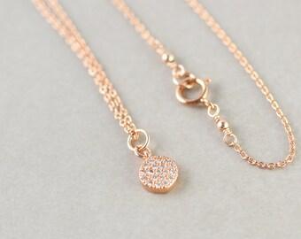 Rose Gold Disc Charm Necklace, CZ Jewelry, Minimal Jewelry, Simple