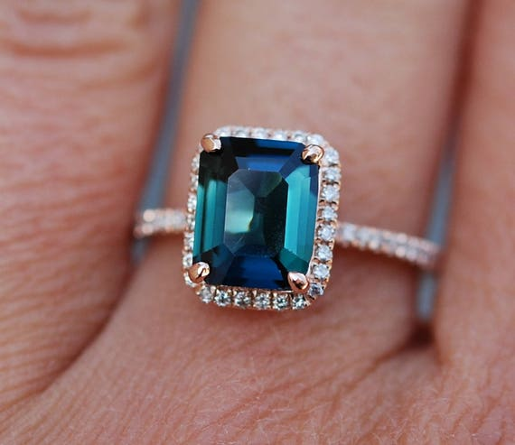 Peacock sapphire engagement ring. 2.81ct emerald cut blue green sapphire ring diamond ring 14k Rose gold ring by Eidelprecious.