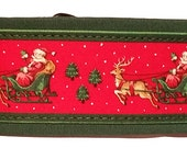 Vintage Santa and Sleigh Fabric Martingale Collar-