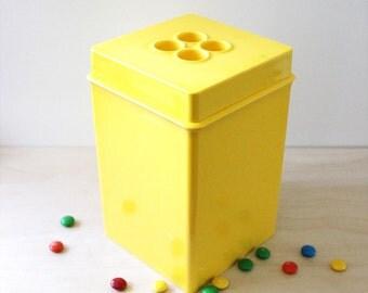Dansk Gourmet yellow storage canister. 1970s mod kitchen storage.