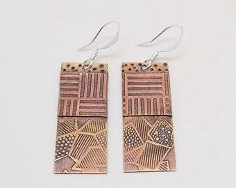 Mixed metal jewelry earrings brass copper. Steampunk earrings.