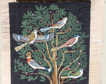 VINTAGE hand painted birds on parchment paper.  Egyptian art, wall hanging, aviary art