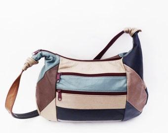 80's leather patchwork bucket bag // vintage COLOR BLOCK patches // shoulder slouch purse // boho hippie