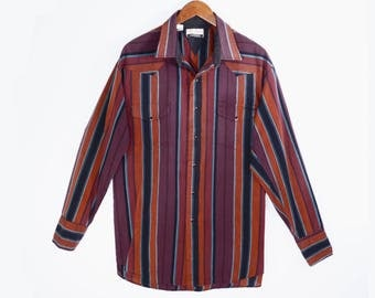 vintage western snap shirt // 80's by Karman // southwest stripes // Gold Collection // men's cowboy shirt XL