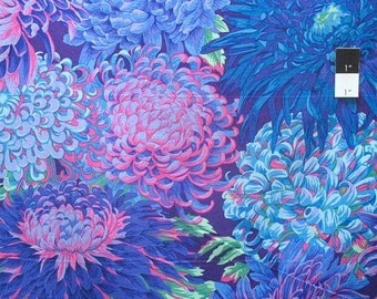 20% OFF SALE Philip Jacobs PJ41 Japanese Chrysanthemum Purple Cotton Quilting Fabric By Yard